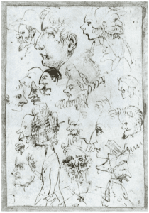Annibale Caracci pen and ink sheet of characters