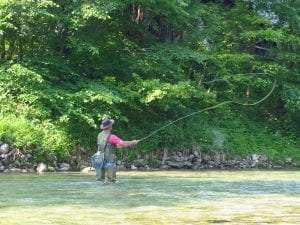 Fly fishing in a river courtesy Wikimedia user Ziga