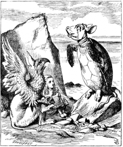 The Mock Turtle in a John Tenniel engraving from Alice in Wonderland