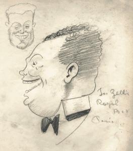 Vinzenco Zito caricature of Joe Zelli at the Royal Box