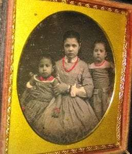 Minnie (left) and Jane Amelia (middle) Knapp, African American wards and servants of the Van Rensselaers. The daughter of another Cherry Hill servant appears on the right