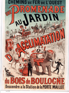 1878 poster advertising a new train ride to the Jardin d Acclimatation