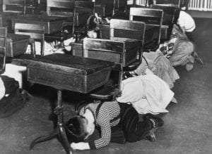 Buffalo students practise an air raid drill during the Second World War Buffalo News
