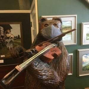 Fiddling Bear with Mask provided by TAUNY