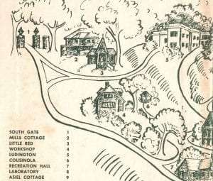 Illustrated map of the Trudeau Sanatorium, including #6, the Cousinola. Illustration by M. L. Herold for Wish I Might by Isabel Smith.