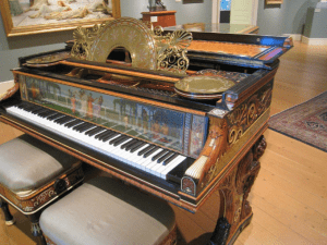 Steinway art case piano designed by Dutch-born British painter Lawrence Alma-Tadema