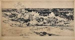 """The Sounding Sea"" 1880 Thomas Moran (1837-1926) etching on paper"